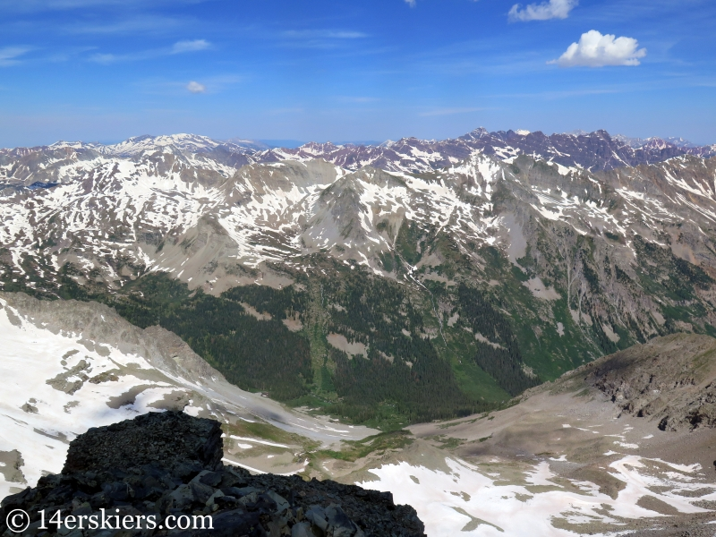 Views of the Elk Range from the summit of Conundrum Peak.