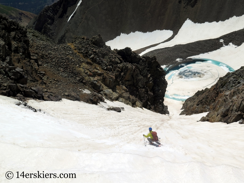 Larry Fontaine backcountry skiing Conundrum Couloir near Aspen.