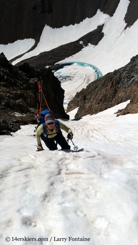 Brittany Walker Konsella climbing Conundrum Couloir.
