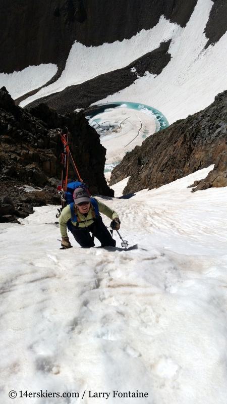 Brittany Walker Konsella climbing Conundrum Couloir.