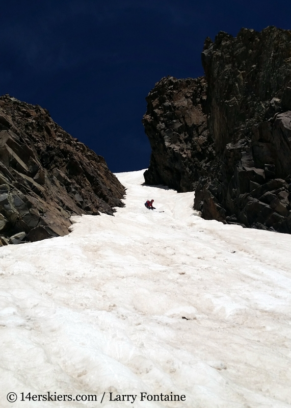 Brittany Walker Konsella backountry skiing Conundrum Couloir near Aspen.