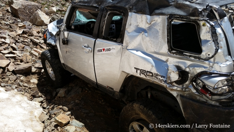 FJ Cruiser that rolled on road near Montezuma Basin.