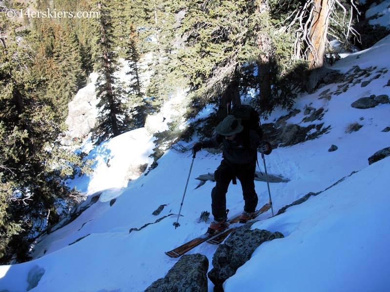 Frank Konsella skinning toward Crestone Peak