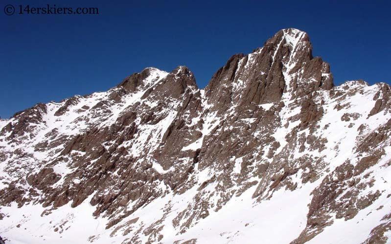 Crestone Peak and Crestone Needle in winter in the Sangre de Cristos.