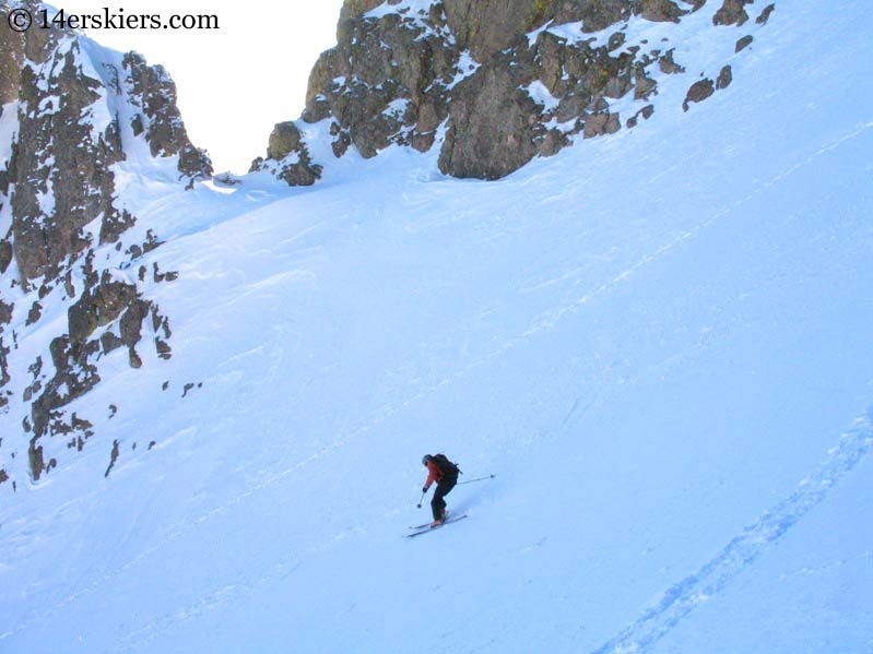 Frank Konsella skiing Crestone Peak.