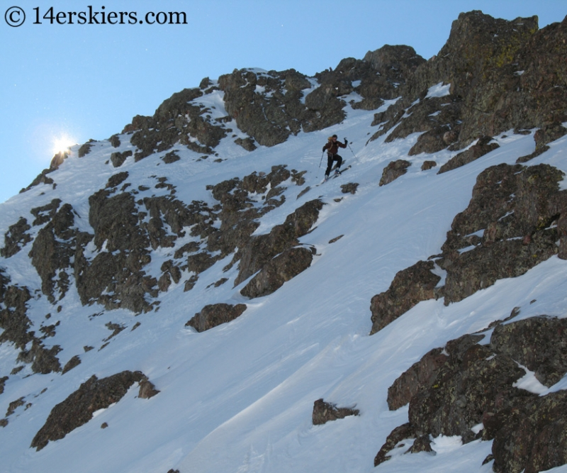 Chris Webster skiing from the summit of Crestone Peak.