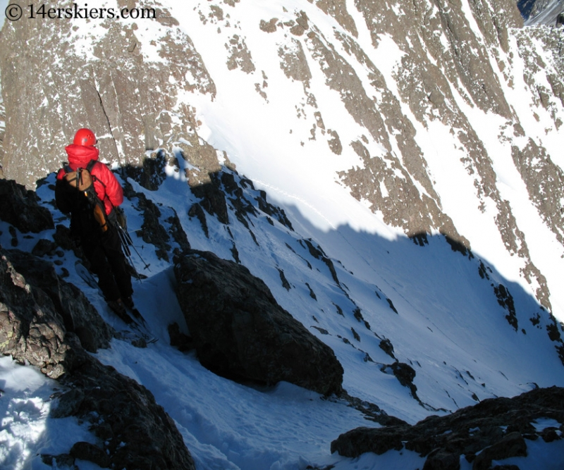 John Jasper at the start of the south couloir Crestone Peak ski.