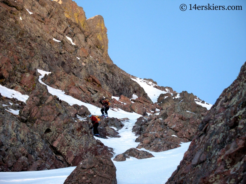 skiing through the crux on Crestone Peak.