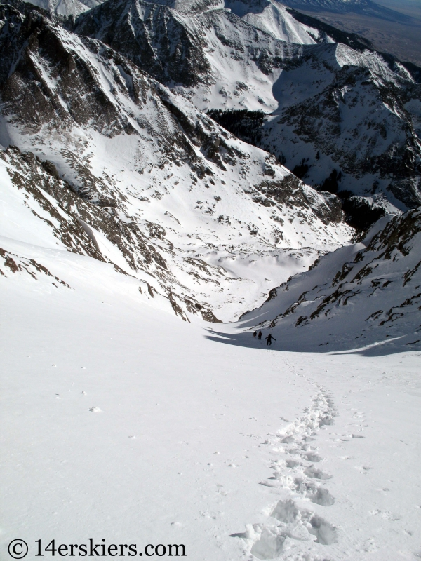 Climbing Crestone Peak to go backcountry skiing