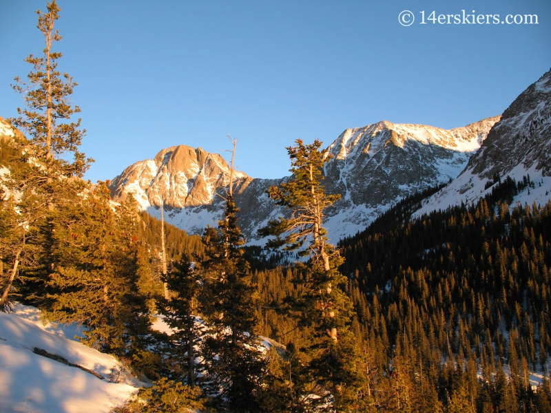 Sun setting near Crestone Peak.