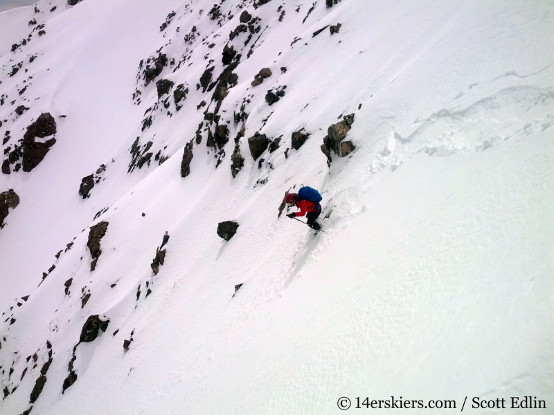 Backcountry skiing the north face of Crystal Peak.
