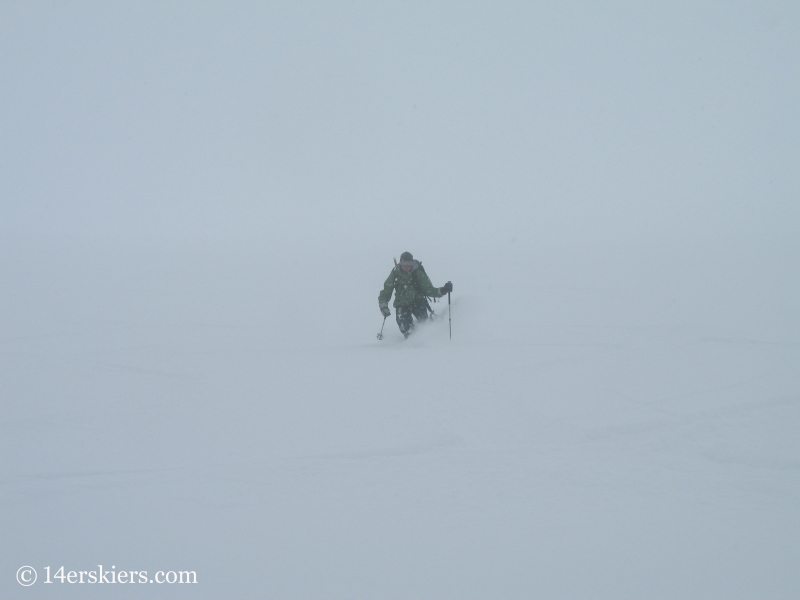 Frank Konsella backcountry skiing on Culebra Peak.
