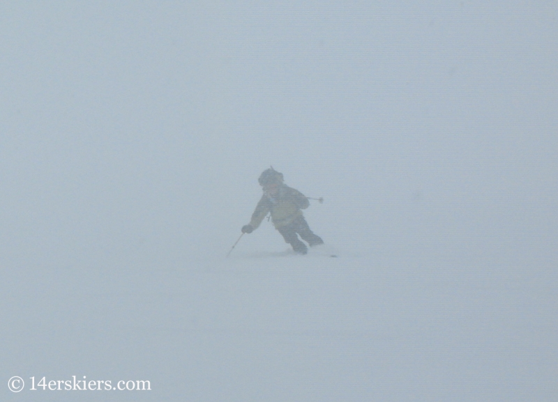 Jordan White backcountry skiing on Culebra Peak.