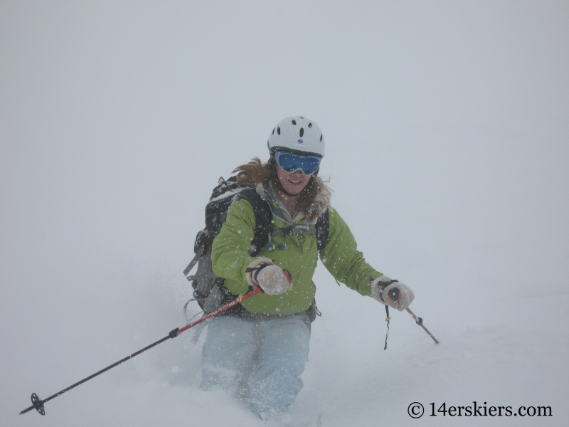 Brittany Konsella backcountry skiing on Culebra Peak
