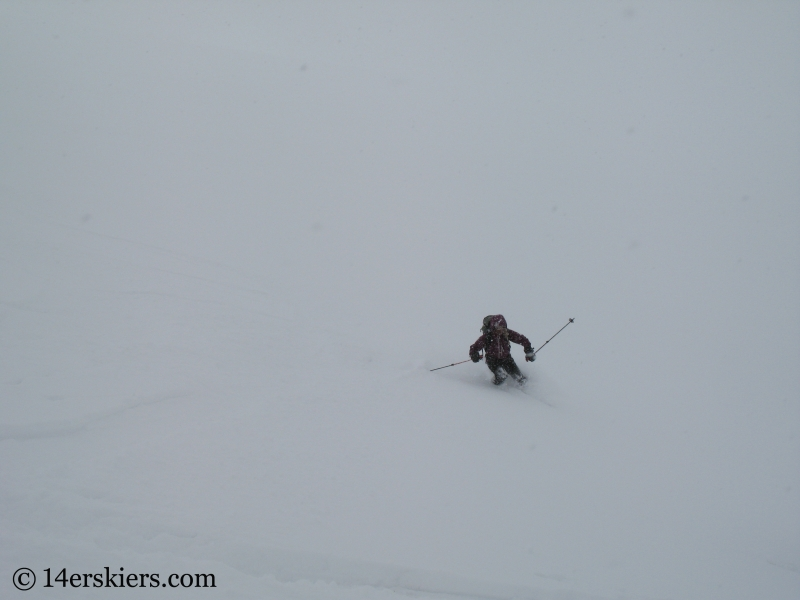Christy Mahon backcountry skiing on Culebra Peak.