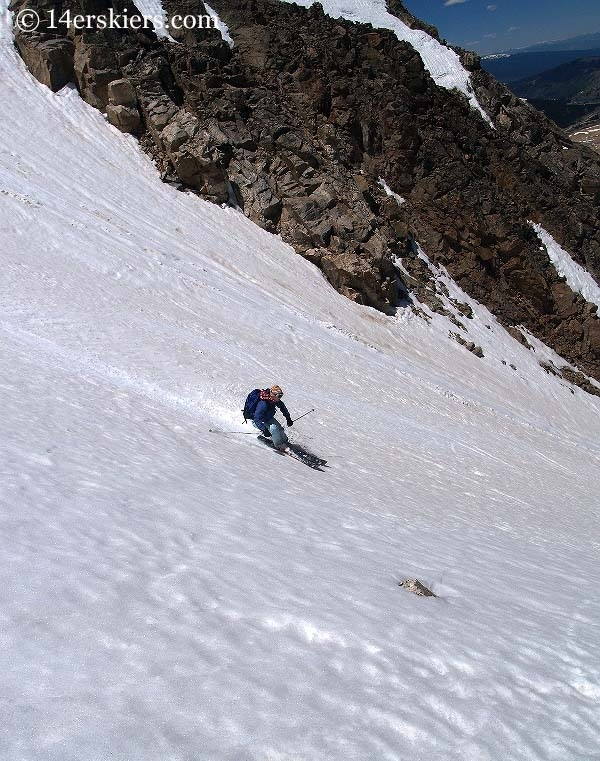 Brittany Walker Konsella backcountry skiing on Democrat.