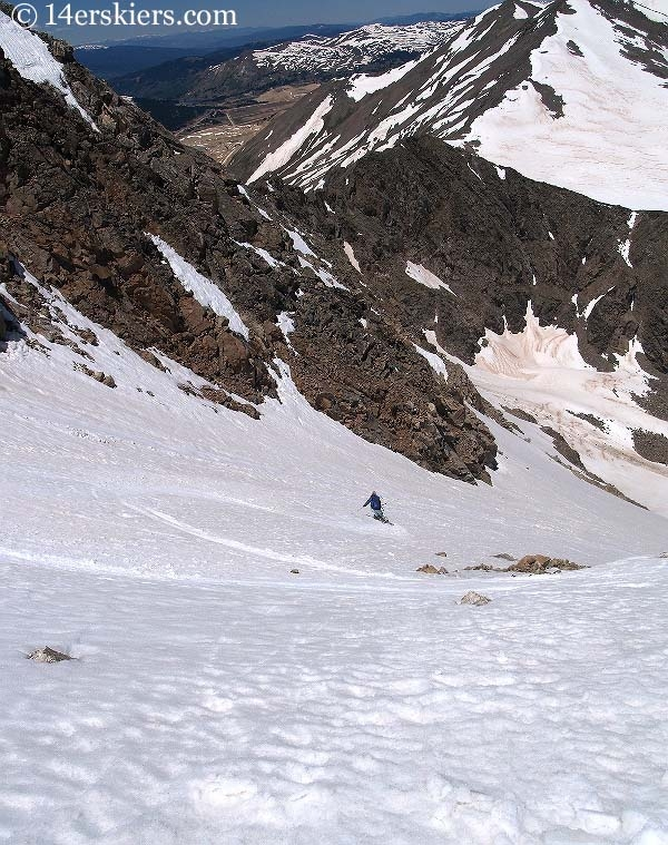 Brittany Walker Konsella backcountry skiing on Democrat