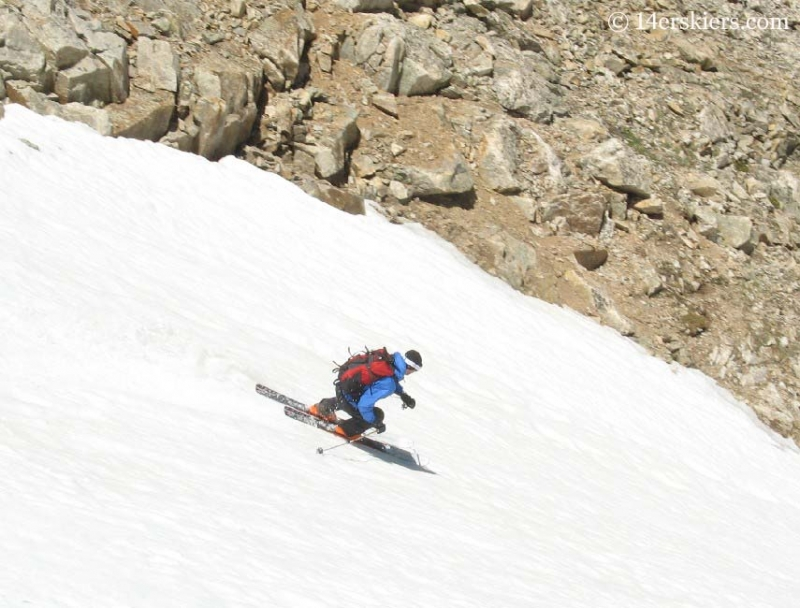 Dave Bourassa backcountry skiing on Democrat.