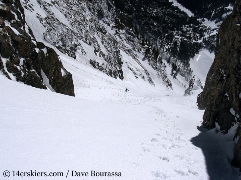 Backcountry skiing Dragons Tail Couloir.