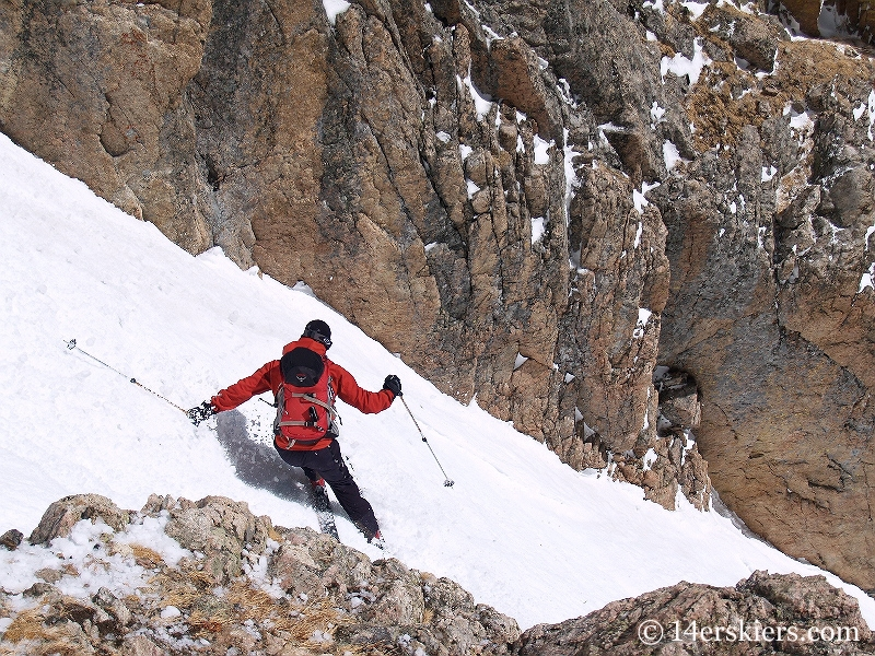 Dave Bourassa backcountry skiing Dragons Tail Couloir.