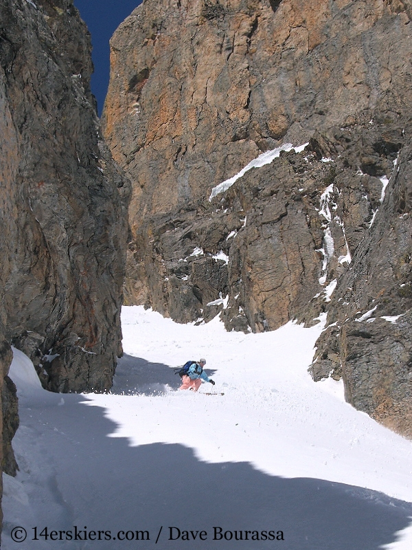 Brittany Walker Konsella backcountry skiing Dragons Tail Couloir.