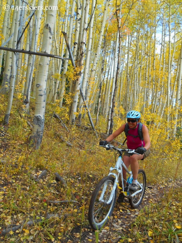 Susan Mol, fall ride on the Dyke Trail near Crested Butte