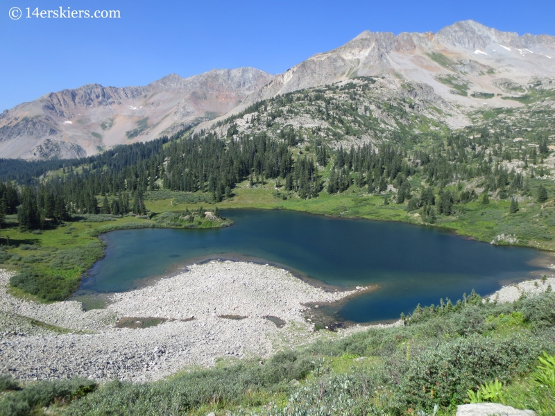 Views of Copper Lake from the trail to East Maroon Pass.