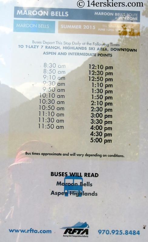 Maroon Lake bus schedule.