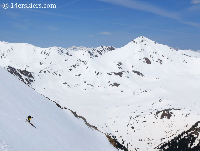 Mark Cavaliero bakcountry skiing on Mount Elbert northwest gullies.
