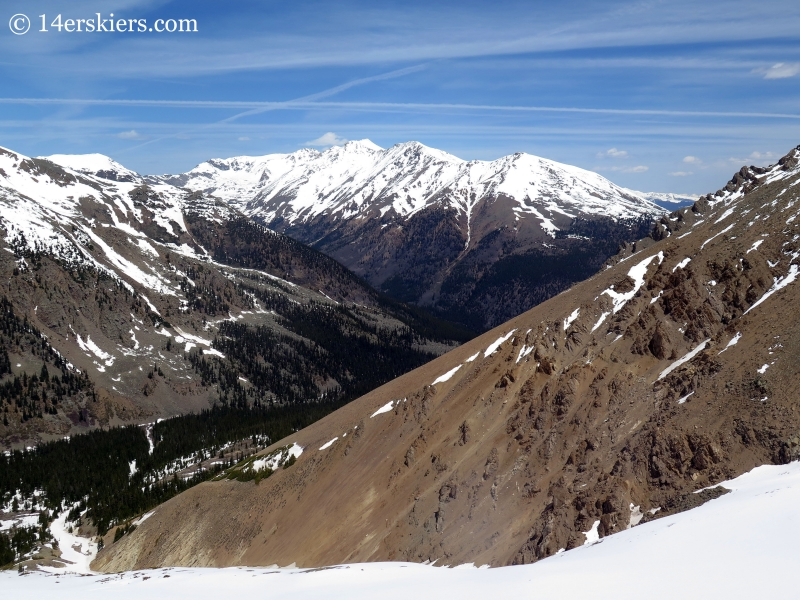 Backcountry skiing on Mount Elbert Nortwest Gullies