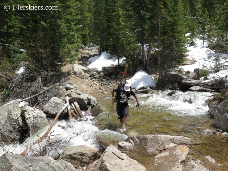 Stream crossing while approaching the northwest gullies on Mount Elbert.