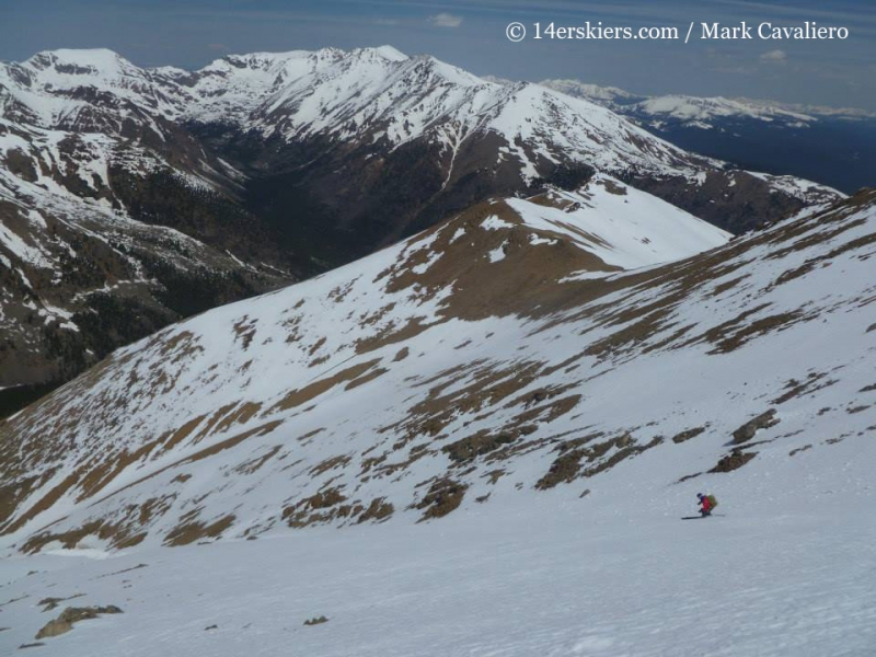 Brittany Walker Konsella bakcountry skiing on Mount Elbert northwest gullies.