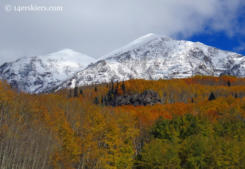 peaks and aspens in fall near Crested Butte
