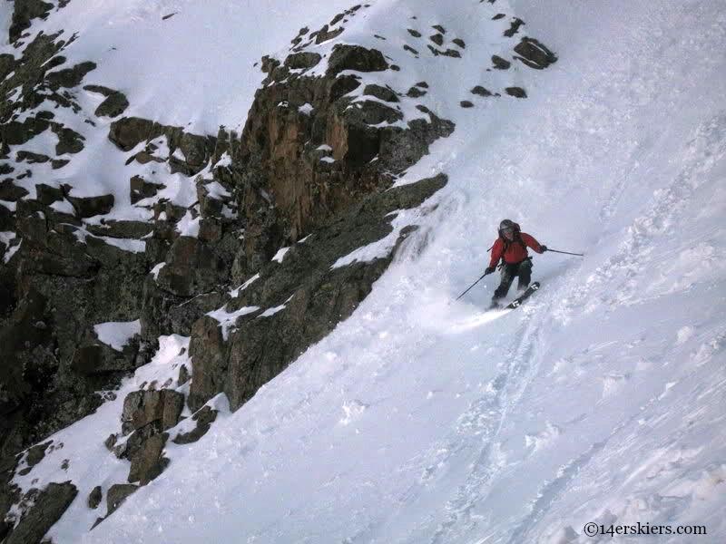 Jordan White backcountry snowboarding on Mount Eolus.