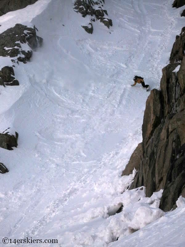 Jarrett Luttrell backcountry snowboarding on Mount Eolus.
