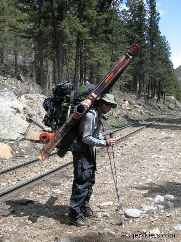Backpacking to go backountry skiing on Mount Eolus.