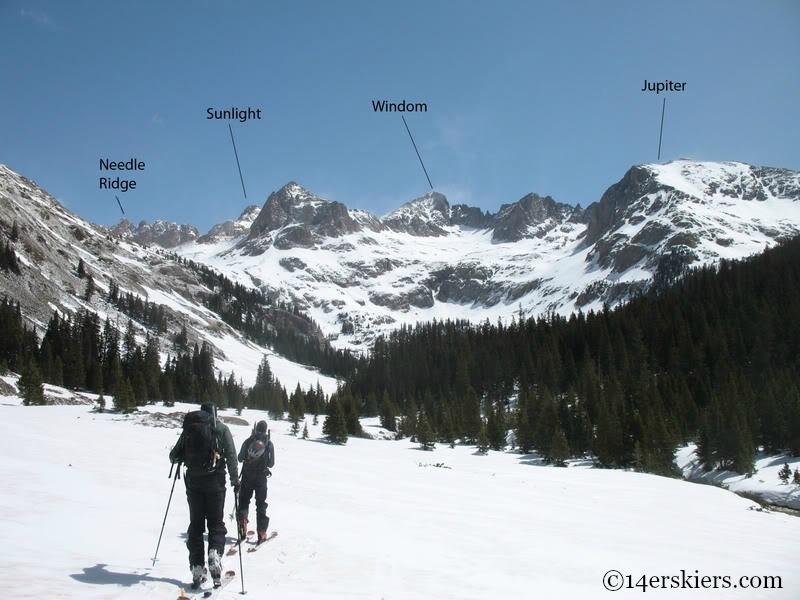 Backcountry skiing in Chicago Basin.