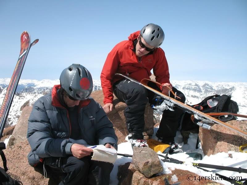 Summit of Mount Eolus, backcountry skiing.