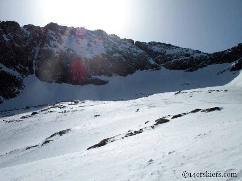 Backcountry skiing on Mount Eolus.