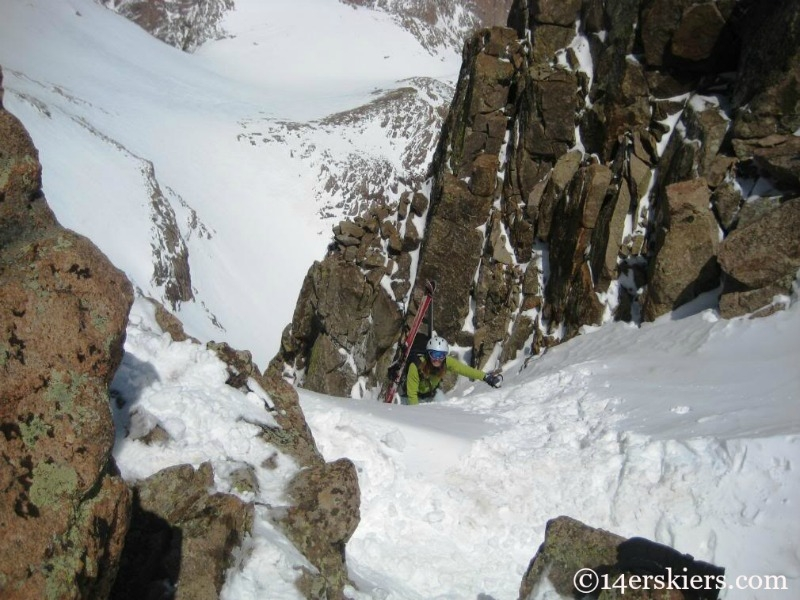 Brittany Walker Konsella climbing Mount Eolus.