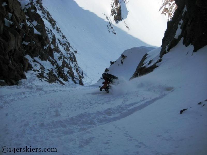 Frank Konsella backcountry skiing on Mount Eolus.