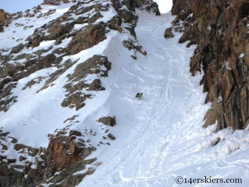 Brittany Walker Konsella backcountry skiing on Mount Eolus.