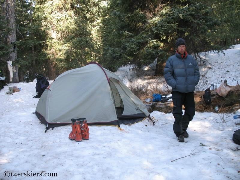 Camping in Chicago Basin to ski Mount Eolus
