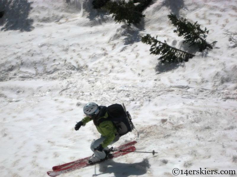 Skiing corn on Mount Eolus.