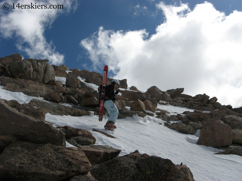 Brittany Walker Konsella climbing Mount Evans.