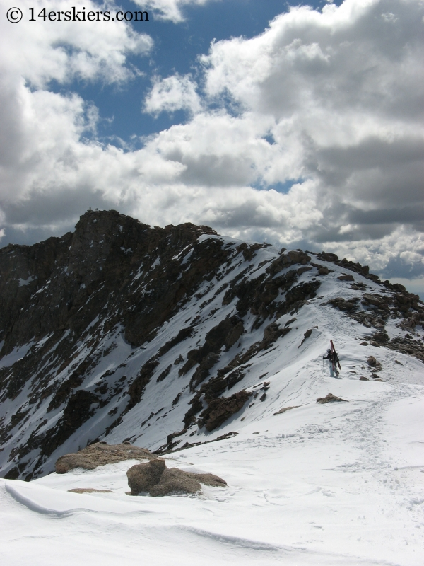 Climbing to summit of Mount Evans.