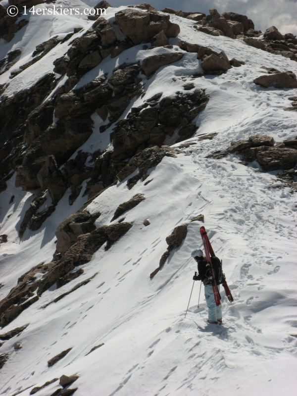 Brittany Walker Konsella scoping out a ski line on Mount Evans.