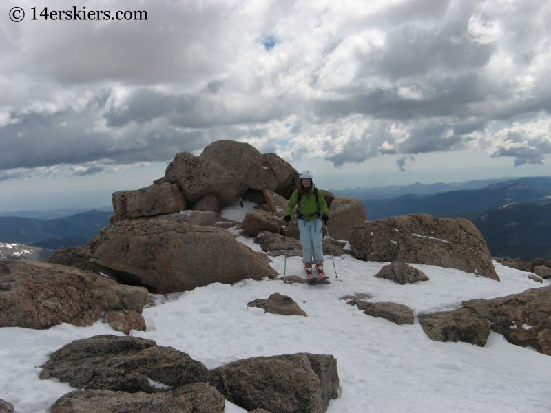 Brittany Walker Konsella skiing from the top of Mount Evans.
