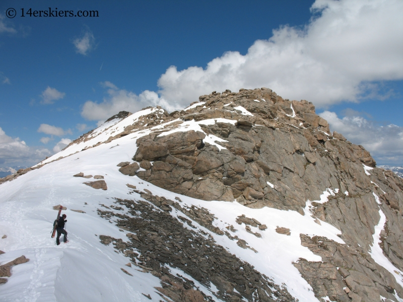 Backcountry skiing on Mount Evans