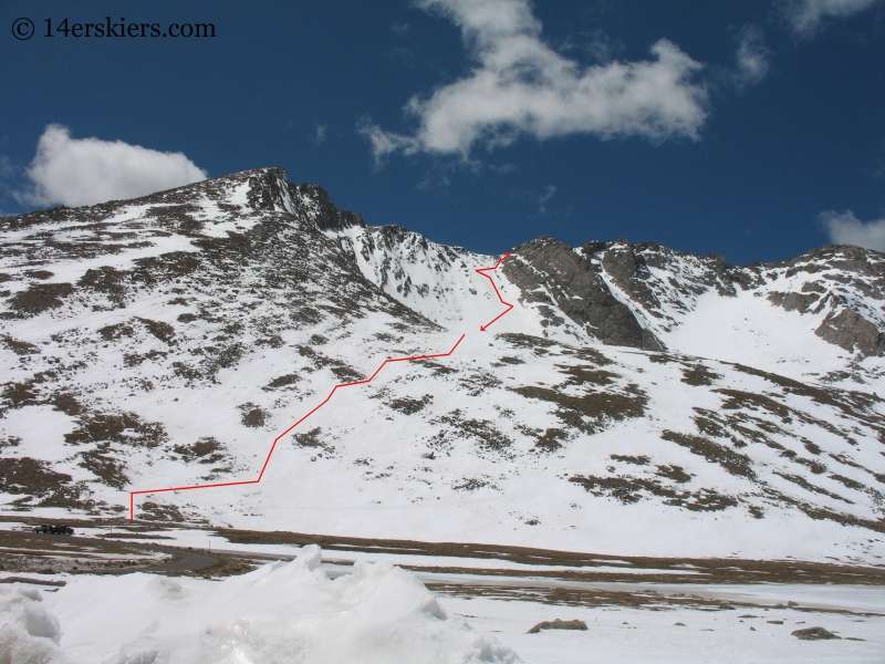 Backcountry skiing line on Mount Evans.